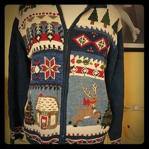 Reindeer quilt ugly christmas sweater.